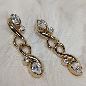 """Swarovski 1.5"""" Drop Gold Pierced Earrings"""